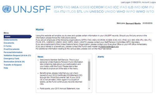 United Nations Joint Staff Pension Fund » Member Self-Service (MSS)