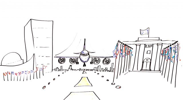 UN Buildings and Plane Drawing