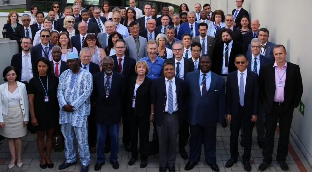 Group photo of Members of the 63rd UNJSP Board meeting in Vienna, Austria in July 2016 hosted by the IAEA.