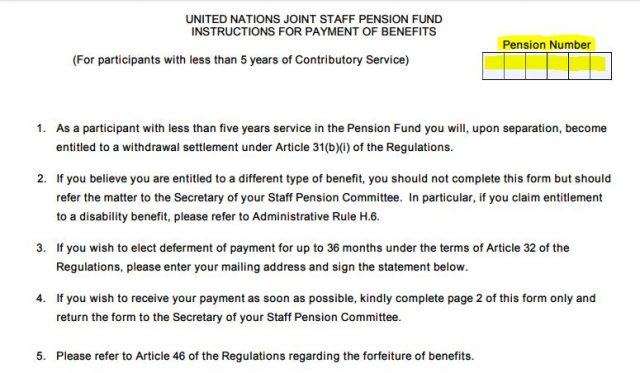 United Nations Joint Staff Pension Fund » Pens.E/6 Tutorial